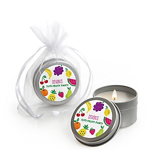 Tutti Fruity - Personalized Frutti Summer Baby Shower Candle Tin Favors - Set of 12