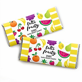 Tutti Fruity - Personalized Candy Bar Wrappers Frutti Summer Baby Shower or Birthday Party Favors - Set of 24