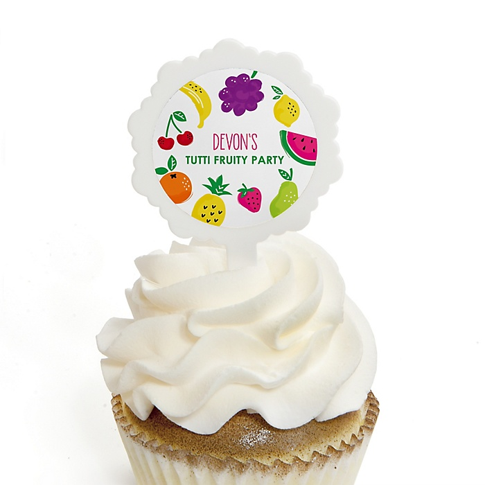 Tutti Fruity - 12 Cupcake Picks & 24 Personalized Stickers - Frutti Summer Baby Shower or Birthday Party Cupcake Toppers