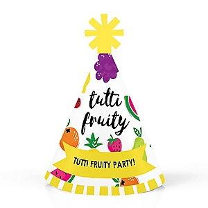 Tutti Fruity - Personalized Mini Cone Frutti Summer Party Hats - Small Little Party Hats - Set of 10