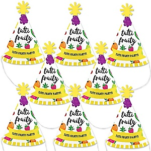 Tutti Fruity - Mini Cone Frutti Summer Party Hats - Small Little Party Hats - Set of 8