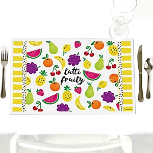 Tutti Fruity - Party Table Decorations - Frutti Summer Baby Shower or Birthday Party Placemats - Set of 12