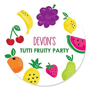 Tutti Fruity - Personalized Frutti Summer Baby Shower or Birthday Party Sticker Labels - 24 ct