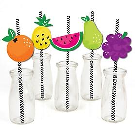 Tutti Fruity - Paper Straw Decor - Frutti Summer Baby Shower or Birthday Party Striped Decorative Straws - Set of 24
