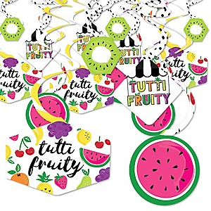Tutti Fruity - Frutti Summer Baby Shower or Birthday Party Hanging Decor - Party Decoration Swirls - Set of 40