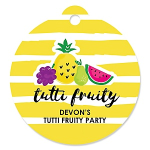 Tutti Fruity - Round Personalized Frutti Summer Baby Shower or Birthday Party Tags - 20 ct
