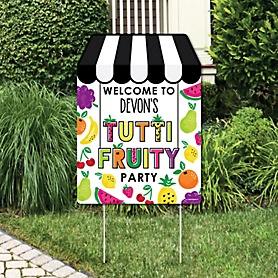 Tutti Fruity - Party Decorations - Frutti Summer Birthday Party or Baby Shower Personalized Welcome Yard Sign