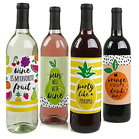 Tutti Fruity - Frutti Summer Decorations for Women and Men - Wine Bottle Labels Girl Baby Gift - Set of 4