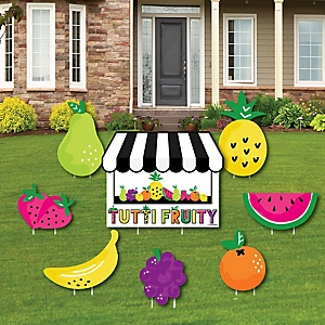 Tutti Fruity - Yard Sign & Outdoor Lawn Decorations - Frutti Summer Baby Shower or Birthday Party Yard Signs - Set of 8