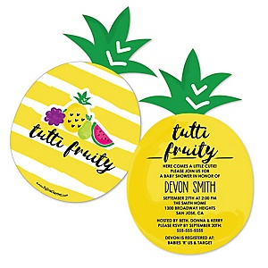 Tutti Fruity - Shaped Frutti Summer Baby Shower Invitations - Set of 12