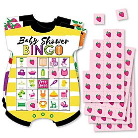 Tutti Fruity - Picture Bingo Cards and Markers - Frutti Summer Baby Shower Shaped Bingo Game - Set of 18