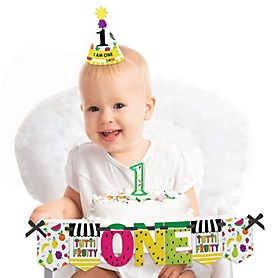 Tutti Fruity 1st Birthday - First Birthday Boy or Girl Smash Cake Decorating Kit - High Chair Decorations