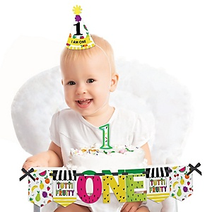 Tutti Fruity 1st Birthday - First Birthday Boy or Girl Smash Cake Decorating Kit - High Chair Decorations