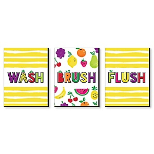 Tutti Fruity - Frutti Summer - Kids Bathroom Rules Wall Art - 7.5 x 10 inches - Set of 3 Signs - Wash, Brush, Flush
