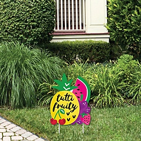 Tutti Fruity - Outdoor Lawn Sign - Frutti Summer Baby Shower or Birthday Party Yard Sign - 1 Piece