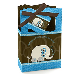 Twin Blue Baby Elephants - Personalized Baby Shower Favor Boxes