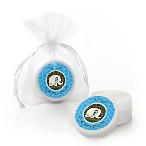 Twin Blue Baby Elephants - Personalized Baby Shower Lip Balm Favors