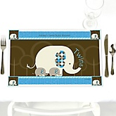 Twin Blue Baby Elephants - Personalized Baby Shower Placemats