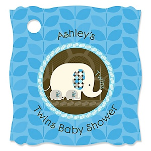 Twin Blue Baby Elephants - Personalized Baby Shower Tags - 20 Count