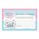 Twin Babies 1 Boy & 1 Girl - Personalized Baby Shower Helpful Hint Advice Cards - 18 ct.