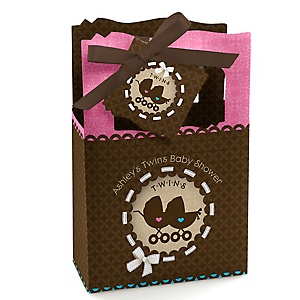 Twin Baby Carriages 1 Boy & 1 Girl - Personalized Baby Shower Favor Boxes