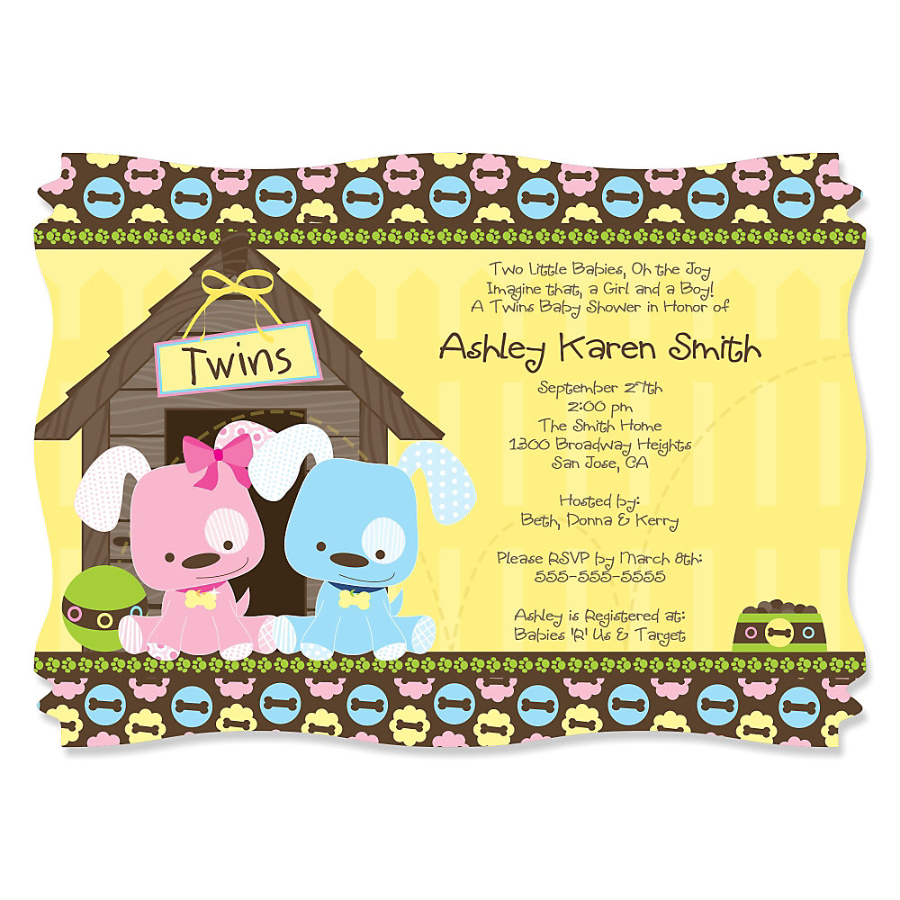 Twin Puppy Dogs 1 Boy & 1 Girl - Personalized Baby Shower ...