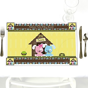 Twin Puppy Dogs 1 Boy & 1 Girl - Personalized Baby Shower Placemats