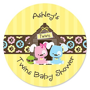 Twin Puppy Dogs 1 Boy & 1 Girl - Personalized Baby Shower Sticker Labels - 24 ct