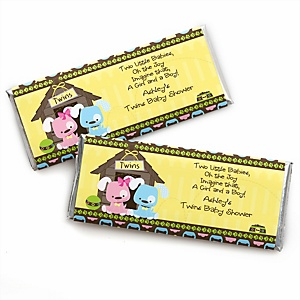 Twin Puppy Dogs 1 Boy & 1 Girl - Personalized Baby Shower Candy Bar Wrapper Favors