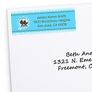 Twin Boy Baby Carriages - Personalized Baby Shower Return Address Labels - 30 ct