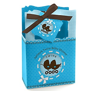 Twin Boy Baby Carriages - Personalized Baby Shower Favor Boxes