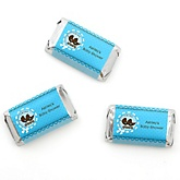 Twin Boy Baby Carriages - Personalized Baby Shower Mini Candy Bar Wrapper Favors - 20 ct
