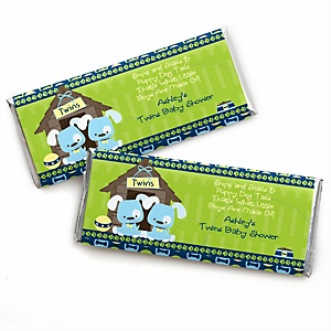 Twin Boy Puppy Dogs - Personalized Baby Shower Candy Bar Wrapper Favors