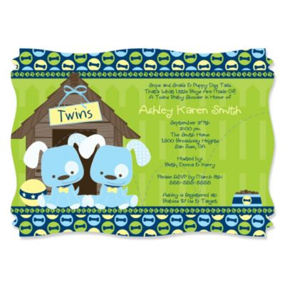 Twin Boy Puppy Dogs Personalized Baby Shower Invitations