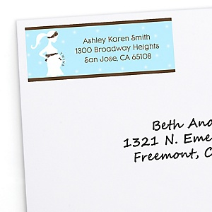 Mommy Silhouette It's Twin Boys - Personalized Baby Shower Return Address Labels - 30 ct
