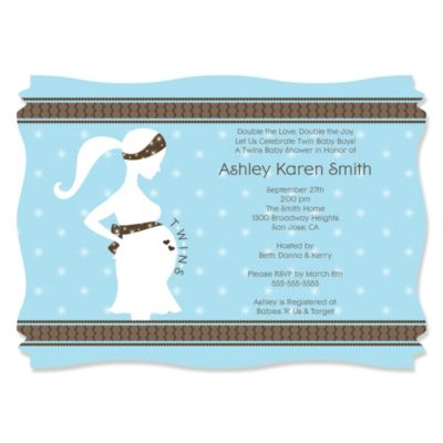 Mommy Silhouette Its Twin Boys Personalized Baby Shower