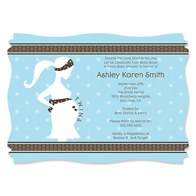 mommy silhouette it's twin boys - personalized baby shower, Baby shower invitations