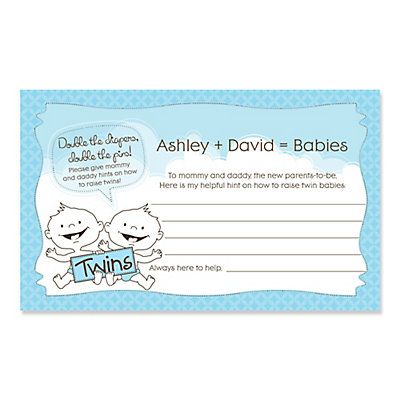 twin baby boys personalized baby shower helpful hint advice cards
