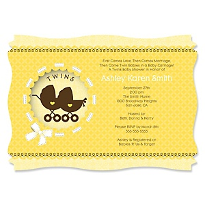 Twin Neutral Baby Carriages - Personalized Baby Shower Invitations