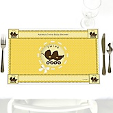 Twin Neutral Baby Carriages - Personalized Baby Shower Placemats