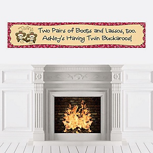 Twin Little Cowboys - Western Personalized Baby Shower Banners