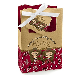 Twin Little Cowboys - Western Personalized Baby Shower Favor Boxes