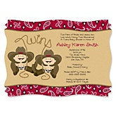 Twin Little Cowboys - Western Personalized Baby Shower Invitations