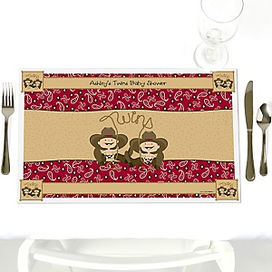 Twin Little Cowboys - Western Personalized Baby Shower Placemats