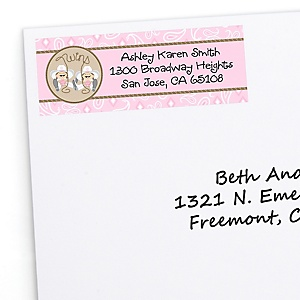 Twin Little Cowgirls - Western Personalized Baby Shower Return Address Labels - 30 ct