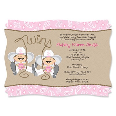 Twin Little Cowgirls   Western Personalized Baby Shower Invitations