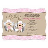 Twin Little Cowgirls - Western Personalized Baby Shower Invitations