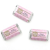 Twin Little Cowgirls - Western Personalized Baby Shower Mini Candy Bar Wrapper Favors - 20 ct