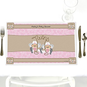 Twin Little Cowgirls - Western Personalized Baby Shower Placemats