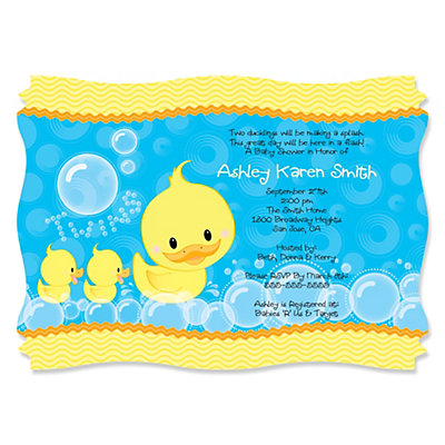 twin ducky ducks  personalized baby shower invitations, Baby shower